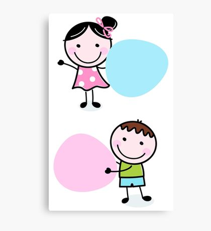 Illustration of happy Kids with Hearts Canvas Print