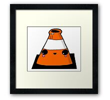Kawaii Cute Traffic Cone Glasgow Framed Print
