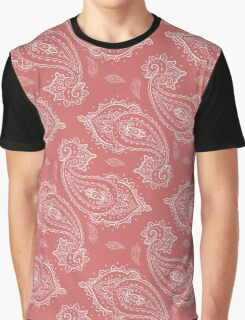 Coral Paisley Aztec Tribal Indian Pattern Graphic T-Shirt