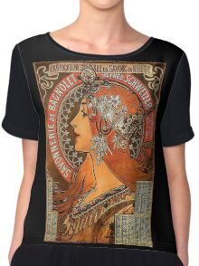 Savonnerie de Bagnolet by Alphonse Mucha (Reproduction) Chiffon Top