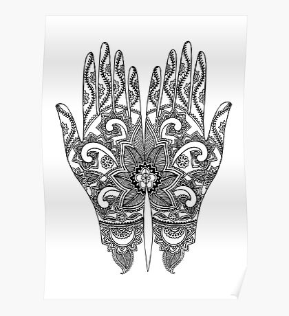 Mehndi Tattoo Hands | Black and White Poster