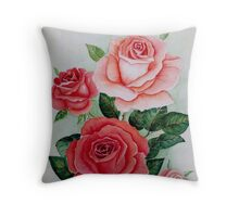 Red and peach roses Throw Pillow