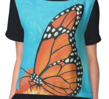 Colorful Monarch Butterfly  Chiffon Top