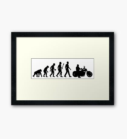 Evolution of Man Motorcycle Framed Print