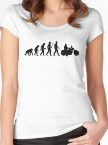 Evolution of Man Motorcycle Women's Fitted Scoop T-Shirt