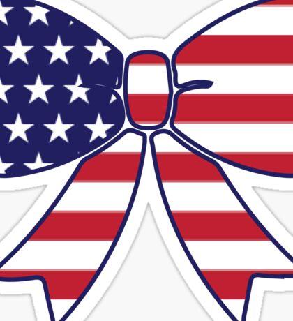 American Flag Bow Sticker