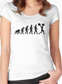 Funny Weightlifting Evolution Shirt Women's Fitted Scoop T-Shirt