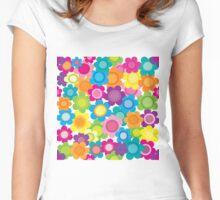 Jeweltone Seamless Flower Pattern Women's Fitted Scoop T-Shirt