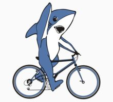 Bicycle Riding Left Shark  Kids Tee