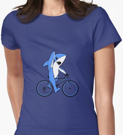 Bicycle Riding Left Shark  Womens Fitted T-Shirt