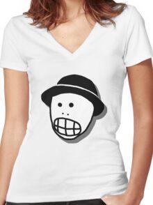 Mr. Skullhead (No Text) Women's Fitted V-Neck T-Shirt