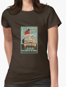 The Cunard Line: To All Parts Of The World!  Womens Fitted T-Shirt