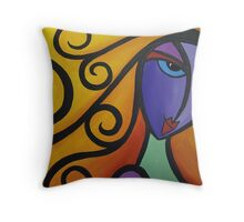Curly Lass Throw Pillow