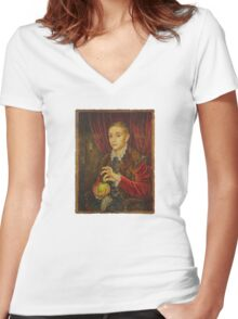 Boy With Apple Women's Fitted V-Neck T-Shirt