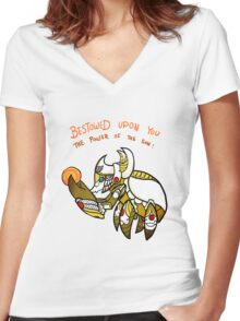 Smite - The Power of the sun (Chibi) Women's Fitted V-Neck T-Shirt