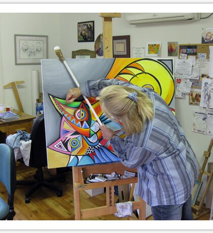 At the easel Sticker