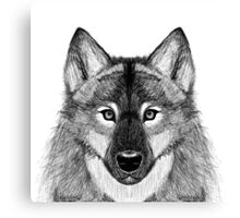 Grey Scale Wolf Portrait Canvas Print