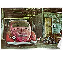 Vintage pink Volkswagen beettle in the garage Poster