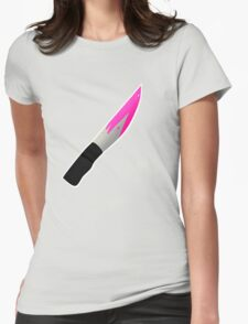 Pink Bloody Knife Womens Fitted T-Shirt