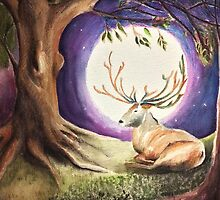 Deer in the moon by Kylie McCaffrey