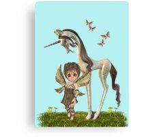 Unicorn and Cute fairy Canvas Print