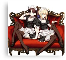 Rin and Saber Maid Outfit Canvas Print