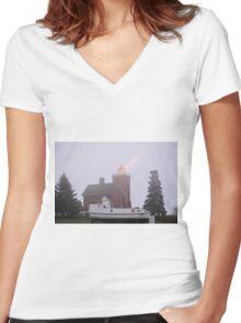 Two Harbors Light 2 Women's Fitted V-Neck T-Shirt