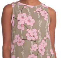 Beautiful pink Flowers Design Contrast Tank