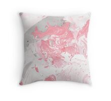 Pink and grey marble Throw Pillow