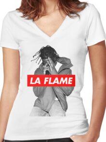 Travi$ Scott - La Flame (Black & White) Women's Fitted V-Neck T-Shirt
