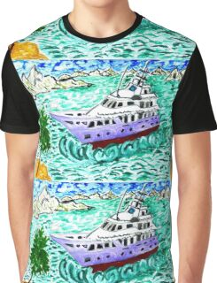 Modern Yacht Watercolor Graphic T-Shirt