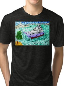 Modern Yacht Watercolor Tri-blend T-Shirt