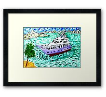 Modern Yacht Watercolor Framed Print