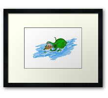 sea monster & boat Framed Print