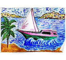 Modern Yacht Watercolor 2 Poster