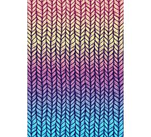 Rainbow Gradient Chunky Knit Pattern Photographic Print