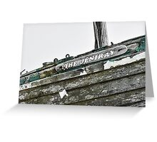 Abandoned fishing boat on Dungeness beach, Kent Greeting Card