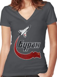 CCCP Bypah Space Program Women's Fitted V-Neck T-Shirt