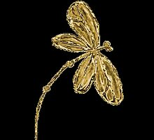 Dragonfly iPhone Case Gold by lyndseyart