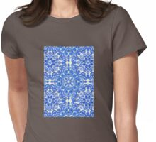 Cobalt Blue & China White Folk Art Pattern Womens Fitted T-Shirt