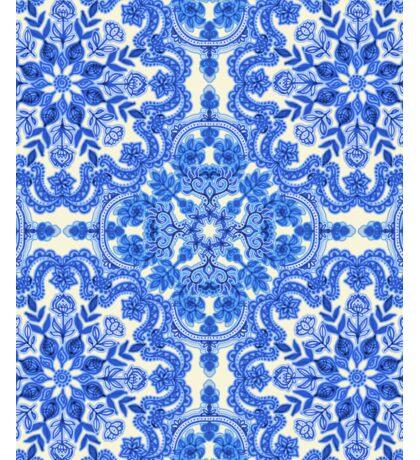 Cobalt Blue & China White Folk Art Pattern Sticker