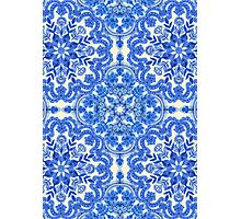 Cobalt Blue & China White Folk Art Pattern Photographic Print
