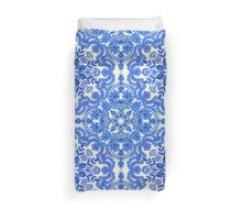 Cobalt Blue & China White Folk Art Pattern Duvet Cover