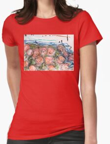 Watered Roses Womens Fitted T-Shirt