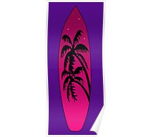 Surfboard Palm Trees (Pink) Poster