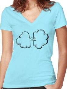 Puzzle cloud Women's Fitted V-Neck T-Shirt
