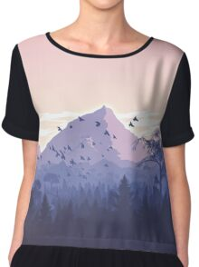 Beautiful Pink Sunset Mountains Trees Nature Landscape Chiffon Top