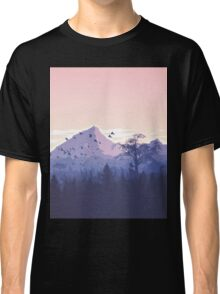 Beautiful Pink Sunset Mountains Trees Nature Landscape Classic T-Shirt