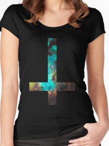 Green Galaxy Inverted Cross Women's Fitted Scoop T-Shirt