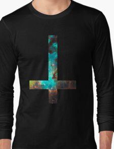 Green Galaxy Inverted Cross Long Sleeve T-Shirt